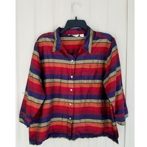 French Laundry Silk Jacket Shirt Blouse Top 3/4